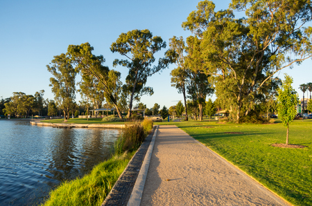 Victoria Park Lake in the regional Goulburn Valley town of Shepparton, Australia.