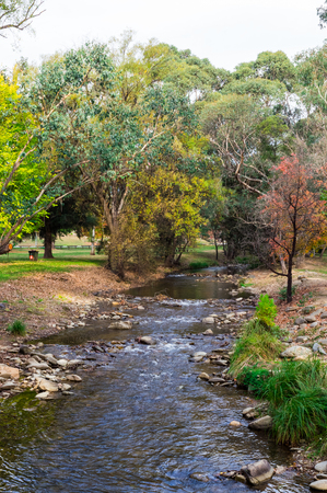 Ovens River flowing through Harrietville in the Alpine Shire of north-eastern Victoria, Australia.