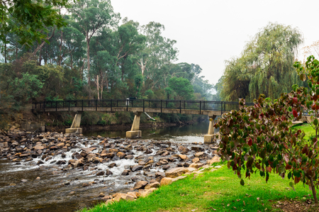 Footbridge over the Ovens River in Bright in north eastern Victoria, Australia.