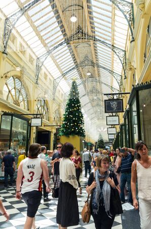 Melbourne, Australia - December 23, 2018: the Royal Arcade is a classic shopping arcade, which opened in 1870. Editorial