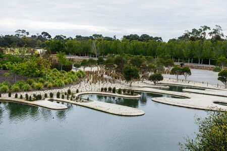The Royal Botanic Gardens at Cranbourne near Melbourne in Australia feature native plants and extensive ponds. Stok Fotoğraf
