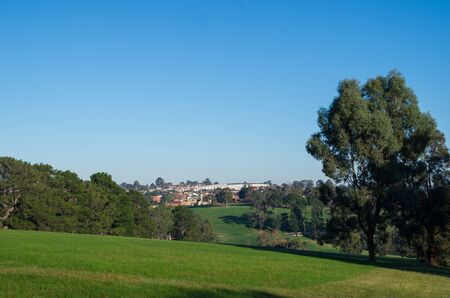 Distant view of Doncaster shopping centre as seen from Ruffey Lake Park in Melbourne, Australia.