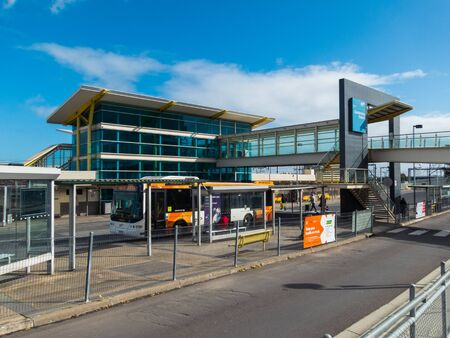 Melbourne, Australia - August 22, 2019: Dandenong Station is a railway station on the Cranbourne and Packenham suburban Metro train lines.