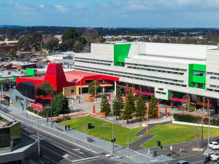 Melbourne, Australia - August 22, 2019: the Dandenong Civic Centre was completed in 2014 to house the council chambers of the City of Greater Dandenong and the public library.