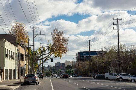 Melbourne, Australia - June 9, 2019: Arden Street is a major thoroughfare in North Melbourne, an inner northern suburb of Melbourne.
