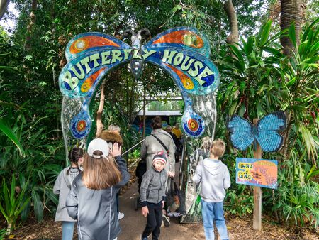 Melbourne, Australia - August 4, 2018: The Royal Melbourne Zoological Gardens or Melbourne Zoo opened in 1862. This is the entrane to the Butterfly House. Editorial