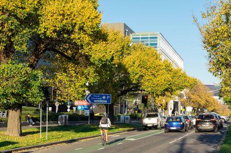 Melbourne, Australia - June 7, 2019: Flemington Road in Parkville is a major inner city arterial road running past major public hospitals.