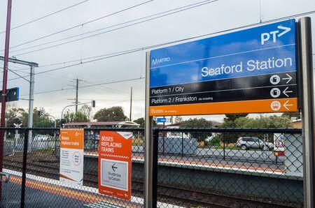 Melbourne, Australia - August 10, 2019: Seaford railway station in suburban Seaford. The station is on the suburban Frankston Metro line.