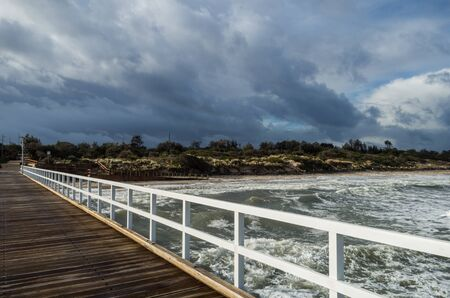 Timber Seaford Pier in the south easter suburbs of Melbourne, Australia Stok Fotoğraf