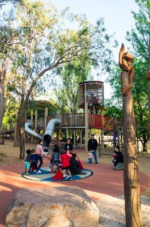 Melbourne, Australia - November 3, 2018: playground at Ringwood Park Lake, an 8.5 hectare public park in Ringwood in the City of Maroondah.