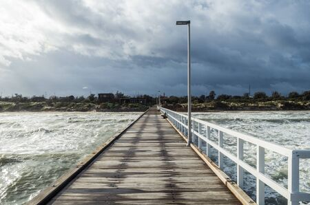 Timber Seaford Pier in the south easter suburbs of Melbourne, Australia Stock Photo