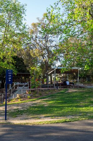 Melbourne, Australia - November 3, 2018: Picnic shelter at Ringwood Park Lake, and 8.5 hectare park in the City of Maroondah in Ringwood.