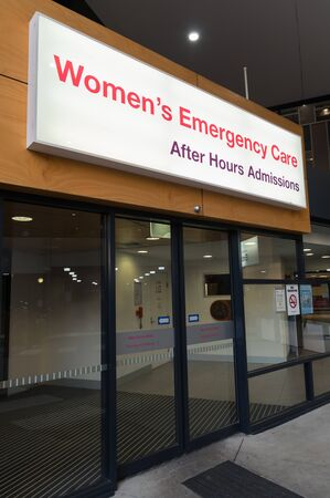 Melbourne, Australia - June 7, 2019: The Royal Women's Hospital is a specialist maternity, gynaecology, neonatal and women's health hospital. This is the emergency care entrance. Editorial