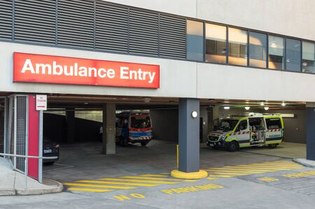 Melbourne, Australia - June 7, 2019: The Royal Women's Hospital is a specialist maternity, gynaecology, neonatal and women's health hospital. This is the ambulance entry. Editorial