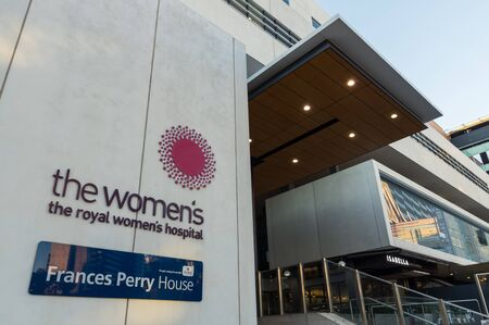 Melbourne, Australia - June 7, 2019: The Royal Women's Hospital is a specialist maternity, gynaecology, neonatal and women's health hospital. It is colocated with the private Frances Perry House. Editorial