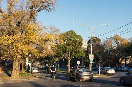 Melbourne, Australia - June 7, 2019: Flemington Road in Parkville. Flemington Road is an inner urban arterial road.