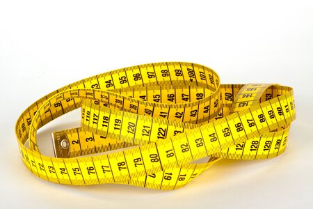 yellow measure tape with scale in centimeters photo