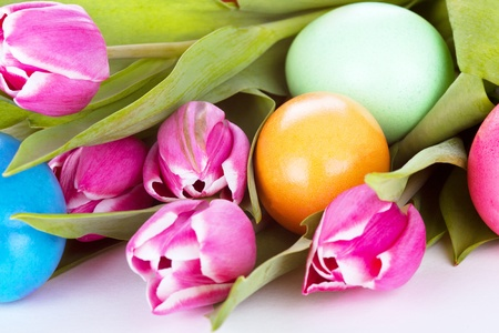 tulip wit eastern eggs a rabbit and letters in different colours Stock Photo