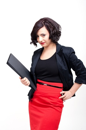 young business woman with dark hair successful