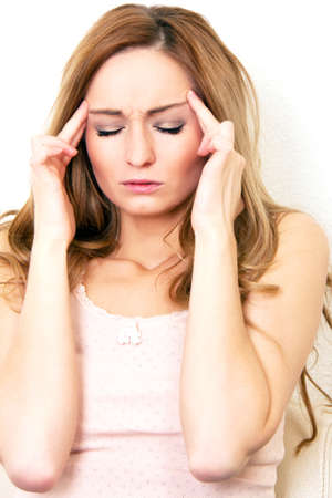 young beautiful woman with headache and a flu  photo