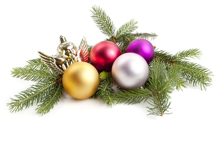 traditional christmas tree decoration isolated on white background  Stock Photo - 13864829