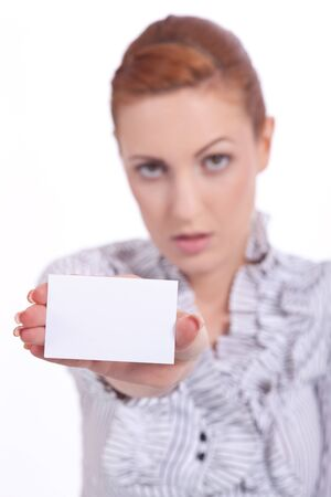 beautiful young girl is holding a blank card in hand isolated photo