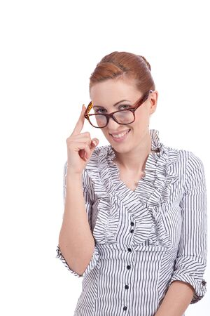 young succssesful woman in casual look elegant and natural with glases isolated photo