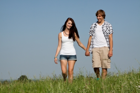 young love couple smiling outdoor in summer having fun Stock Photo - 14796225
