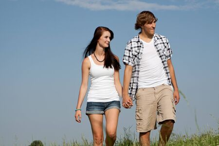 young love couple smiling outdoor in summer having fun Stock Photo - 14796218