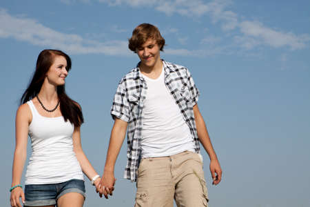 young love couple smiling outdoor in summer having fun Stock Photo - 14796220