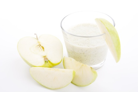 fresh green apple yoghurt shake isolated on white background photo