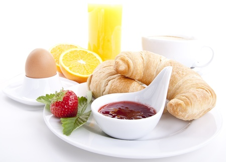 traditional french breakfast croissant isolated on white background