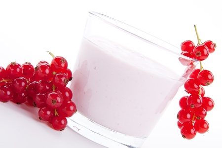 fresh tasty currant yoghurt shake dessert isolated on white background photo