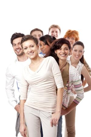 grupo de hombres: gente de negocios feliz grupo equipo junto aislado sobre fondo blanco