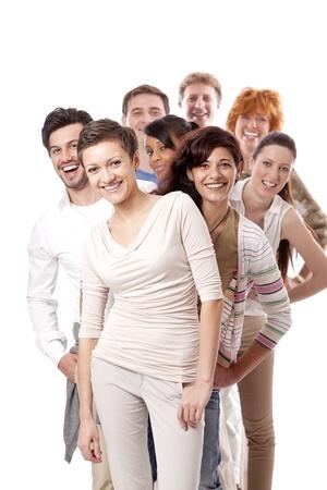 함께 흰색 배경에 고립 된 행복 한 사람들이 비즈니스 팀 그룹