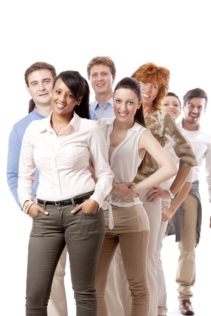 happy people business team Gruppe zusammen isoliert auf weißem Hintergrund