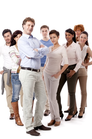 happy people business team group together isolated on white background Stock Photo - 16490411