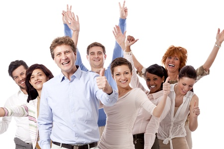 glädje: lyckliga människor Business Team grupp tillsammans isolerade på vit bakgrund