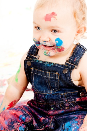 cute little toddler baby colorful creative art paint happy photo