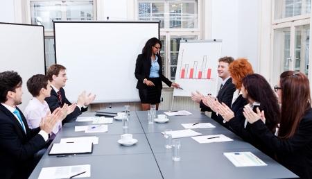 zakelijke conferentie presentatie met teamtraining flipchart kantoor Stockfoto