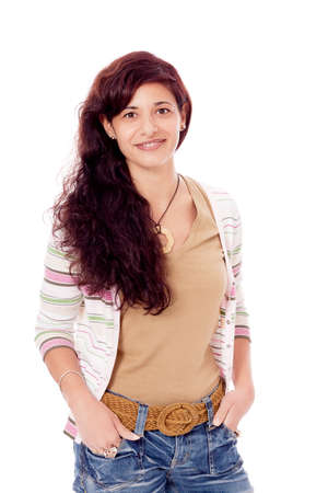 brunette woman in casual outfit is smiling portrait isolated on white background Stock Photo - 17449168