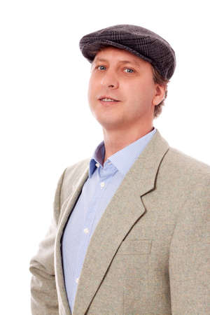 man in casual business outfit and hat isolated on white background photo
