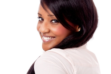 smiling young attractive african woman portrait isolated on white background