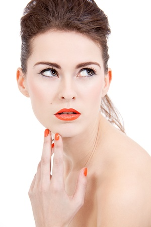 perfect beauty woman face with orange lips isolated on white background Stock Photo - 17509051