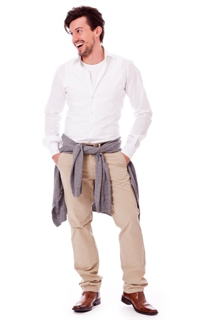 succesvolle young adult man casual zakelijke outfit op witte achtergrond