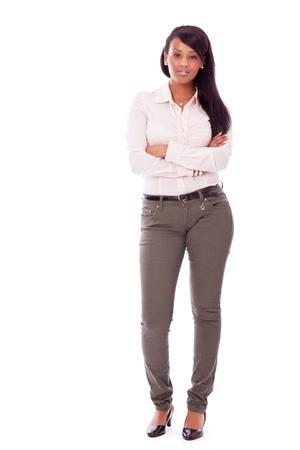 femme africaine: jeune femme africaine de succès avec un grand sourire isolé sur fond blanc Banque d'images