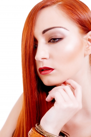 attractive young woman with shiny red hair and beauty makeup portrait Stock Photo - 17798782