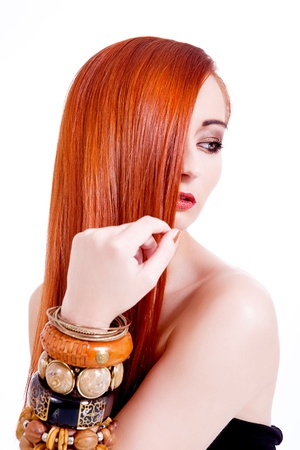 attractive young woman with shiny red hair and beauty makeup portrait Stock Photo - 17798766