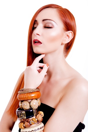 attractive young woman with shiny red hair and beauty makeup portrait Stock Photo - 17798724