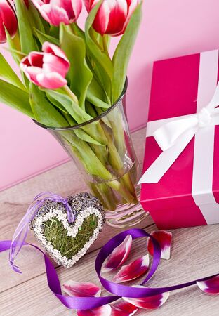 pink and white tulips present ribbon easter birthday symbol festive photo
